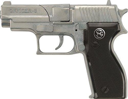 J.G.Schrödel Officer: Spielzeugpistole für Zündplättchen, Ideal für das Polizeikostüm, 8 Schuss, 15.5 cm, Schwarz/ Silber (107 (Bauern 2 Stück Kostüme)