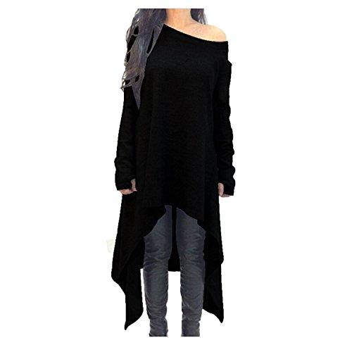 Damen a-linie V-Ausschnitt Unregelmäßige Strick Oversize Langarm Retro Pullikleid Longshirt Top (XL, Schwarz) (Gothic Meerjungfrau Pullover)