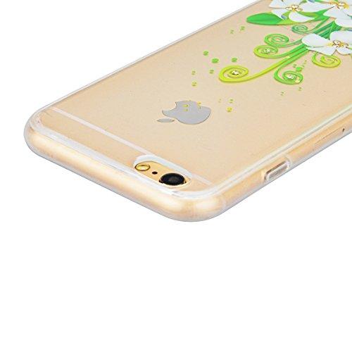 GrandEver iPhone 6S Hülle, iPhone 6 Weiche Silikon Bumper und Hardcase Strass Diamant Hart Backcover Transparent Glitzer Handyhülle mit Blumen Muster Schlank HandyTasche Flexible Bling Schutzhülle Zur Lilie