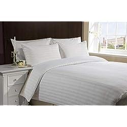 Hachette Juego de cama de 3piezas con funda de edredón, a rayas, de algodón egipcio de 400hilos, con fundas de almohada, para cama de 180cm