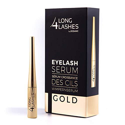 Long4Lashes GOLD 4 ml - Neues Exclusives Wimpernserum, hohe Kapazität - Serum der Superlative -steigert das Wimpernwachstum mit einen Kraftpaket aus pflanzlichen Zutaten | Superstar Formel 4 ml - Lash Magic