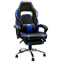 LANGRIA High Back Racing Style Faux Leather Executive Computer Gaming Office Chair, Well Padded Footrest and Lumbar Cushion, Ergonomic Reclining Design, Adjustable Height