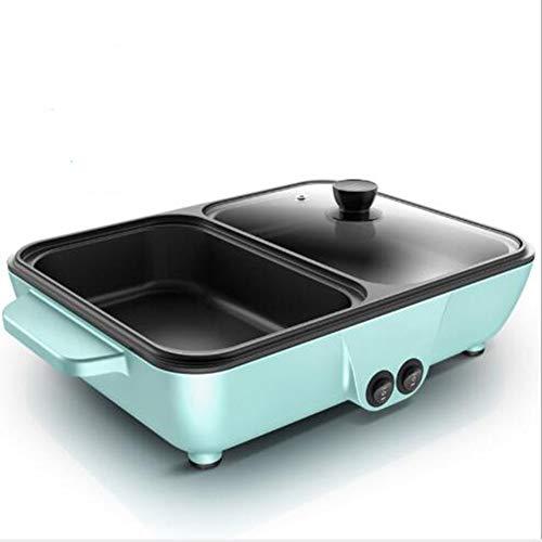 KASIQIWA Mini-Multifunktions-Grillgerät, Dual Pan Elektrogrill Unabhängige Temperaturregelung Rauchfreien Topf für Haushalt Braten Braten Backen Kochen,Blue
