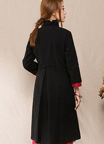 MatchLife Femmes Imprimé Plate Buton Manteau Noir