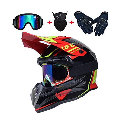 LEENY Caschi di Motocross Casco Uomo con Occhiali/Maschera/Guanti, Casco da Moto off-Road DH Enduro ATV Quad Motorcycle Casco da Cross Full-Face Casco da Motocicletta per Uomini Donne, Rosso,L