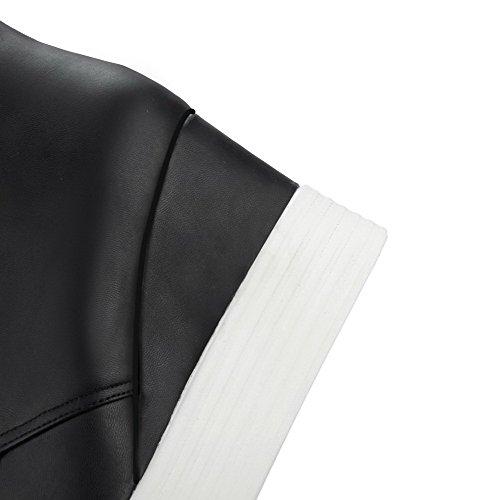 Schnüren Niedrig Damen Stiefel Schwarz Absatz Allhqfashion Material Rein spitze Hoher Weiches 8x8nAwf