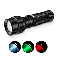 BESTSUN Red Green White Tactical Flashlight LED Tri-Color Road Signal Flashlight 3 Colors Flashlights Torch 3 Modes 3 in 1 Waterproof IPX7 11 LED