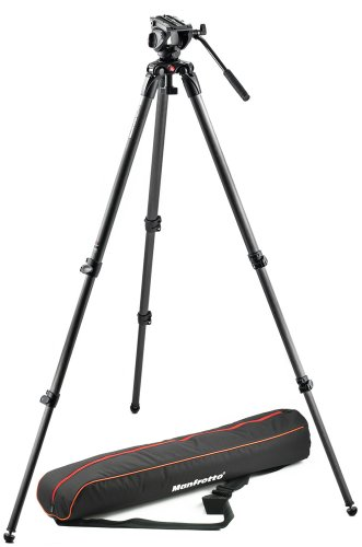 Manfrotto MVK500C Lightweight Fluid Video System with Carbon Fiber Legs (Black)