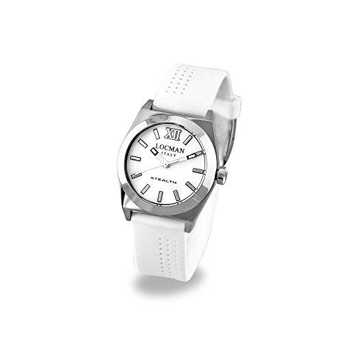 Locman Stealth / orologio donna / quadrante madreperla bianca / cassa acciaio e titanio / cinturino silicone bianco