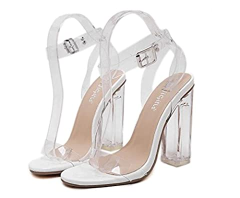 Beauqueen Sandales à talons et talons transparents Boucles d'oreilles à talons ouverts Chaussures à talons hauts Chaussures à édition limitée Taille de l'UE 35-40 , white ,
