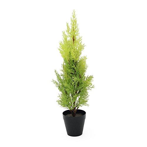 artplants Künstliche Zypresse Spring im Dekotopf, 60 cm – wetterfest – Künstlicher Zeder/Künstliche Konifere