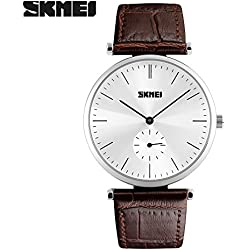Good Quality leather strap watch quartz movement watch is 30 meters waterproof wristwatch zinc alloy environmentally friendly non-toxic vacuum plating Case(Brown strap-Silver shell)