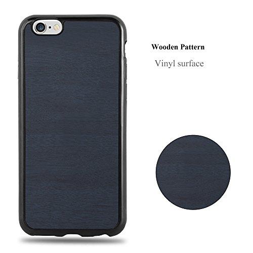Cadorabo – TPU Ultra Slim Case passend für >             Apple iPhone 6 / 6S             < Silikon Hülle in Holz-Optik und Vintage Design - Cover Schutz-hülle Schale Bumper Handyschale in WOODEN-SCHWARZ WOODEN-BLAU
