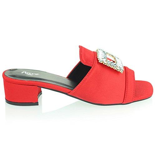 Frau Damen Brosche Detail Diamant Schlüpfen Blockabsatz Abend Lässig Party Sandalen Schuhe Größe Rot