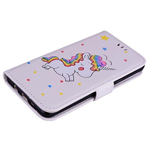 Coque Samsung Galaxy A5 (2016) , Bling Glitter Licorne Étui Protection Wallet PU en Cuir Housse la Haute Qualité Pochette Anti-rayures Couverture Bumper Rabat Magnétique Antichoc Cuir Véritable Case A Blanc