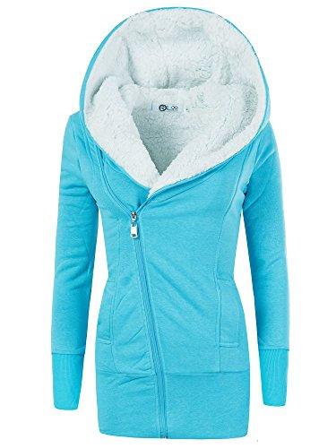 N596 Damen Jacke Mantel Winterjacke Kapuze Gefüttert Sweatjacke Hoodie, Farben:Türkis;Größen:XXL