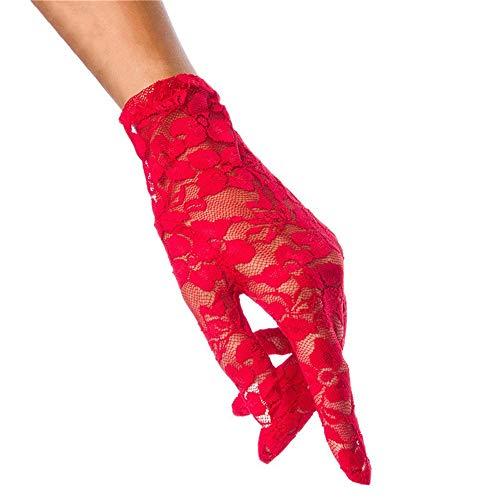 Zhongsufei-WA Brautparty-Handschuhe Frauen Sommer Elegant & Dressy Kurze Spitzenhandschuhe für Bräute, Bridal Parties Proms Für Hochzeitskleidhandschuhe (Farbe : (Prinzessin Braut Kleid Kostüm Red)