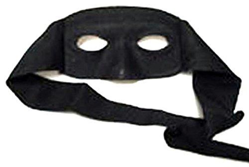 Zauberclown - Zorro Kostüm Maske zum Binden Musketier Einbrecher Prisoner Knacki Zorrokostüm, Schwarz
