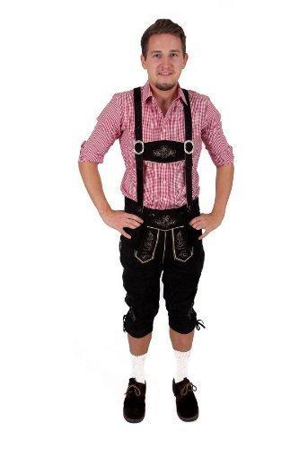 Herren Trachten Kniebundhose schwarz aus feinstem Rindsveloursleder Gr. 54
