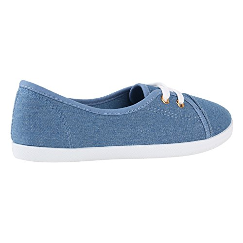Sportliche Damen Halbschuhe Sneakers Schnürer Schuhe Denim Hellblau
