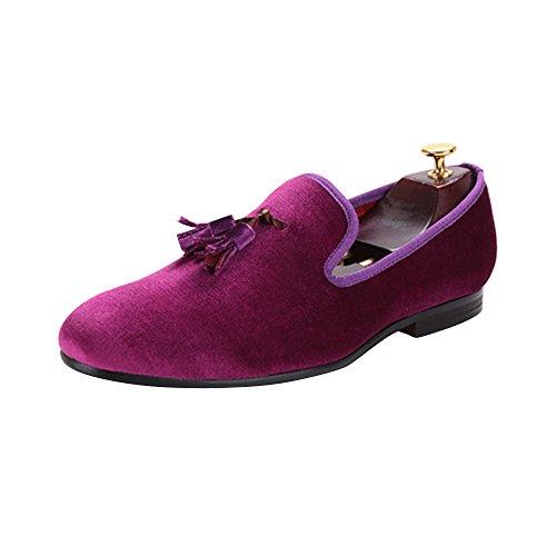 Herren Samt Schuh Britische Stil Loafers Ohne Verschluss Flach mit Samt Quaste Purple