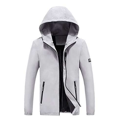 Preisvergleich Produktbild Amphia - Herrenjacke - Einfarbig,  Männer Herbst Winter Mode Lässig Reine Farbe Reißverschluss Stehkragen Atmungsaktive Mantel(Grau, M)