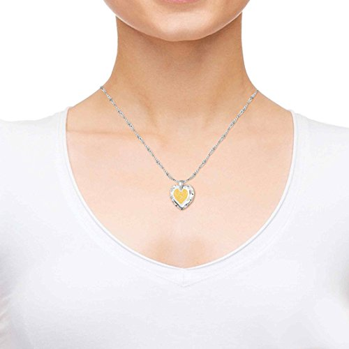 Pendentif Coeur - Bijoux Romantique en Argent 925 avec I Love You More inscrit style retro années 60 à l'Or 24ct sur un Zircon Cubique en Forme de Coeur, 45cm - Bijoux Nano Transparent