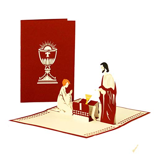 Carte Communion Carte - Cadeau Pour Garçon & Fille - Pop Up carte Communion, Confirmation & Confirmation