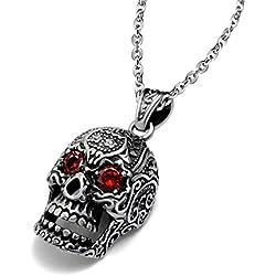 En acero inoxidable para hombre, de esqueleto hueco, diseño gótico