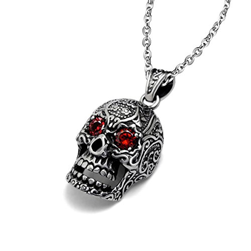 Collar con Colgante de Acero Inoxidable Stayoung Joyas para Hombre, de Esqueleto Hueca, diseño gótico Meeny de Calavera con Cristales de Ojos, de Plata y