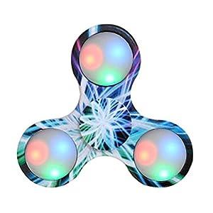 Bescita LED Licht Fidget Hand Spinner Torqbar High Speed Finger Spielzeug EDC Focus Gyro (blau3)