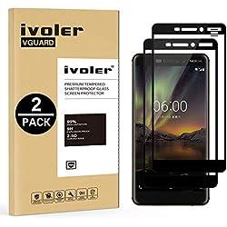 iVoler [Pack de 2] Verre Trempé pour Nokia 6.1 / Nokia 6 2018, [Couverture Complète] Film Protection en Verre trempé écran Protecteur Vitre (Noir)