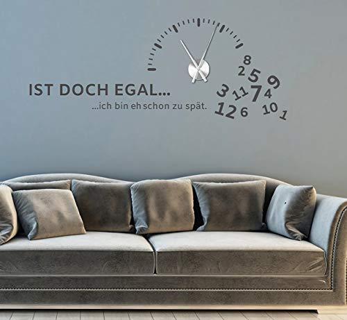 tjapalo® gr-pkm270 Wandtattoo Wohnzimmer modern Wanduhr Wandtattoo Büro Wandsticker wandtatoo uhr spruch Wandtattoo Uhr mit Uhrwerk 120x47cm