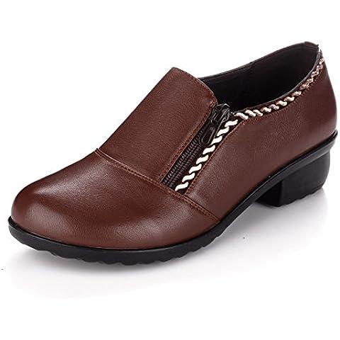 Fondo soffice in pelle scarpe da donna/Calzature all'anziana madre/Scarpe di
