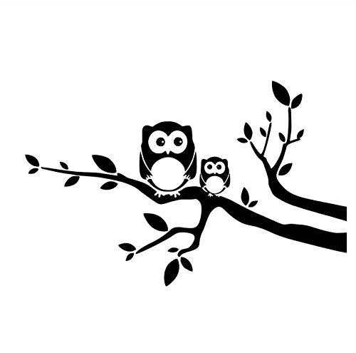 10,9 cm * 17,1 cm Eulenbaby Mutter Vogel Ast Vinyl Aufkleber Abziehbilder Schwarz/Silber 5PCS -