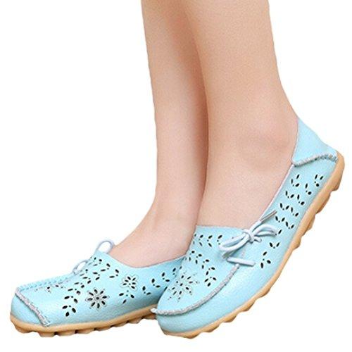 Vogstyle Mocassin Femme Casual Plat Tout-Match Chaussures Sandales Style 2 Bleu clair