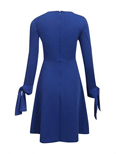 Meaneor Femme Robe A Volant Classique Vintage Dress Plissée Manches 3/4 Casual Soirée Bleu