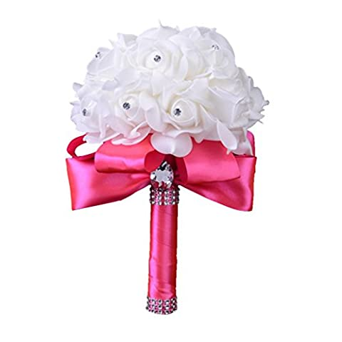 Covermason Bride Bouquet, Crystal Roses Bridesmaid Wedding Artificial Silk Flowers Home Decor (Hot
