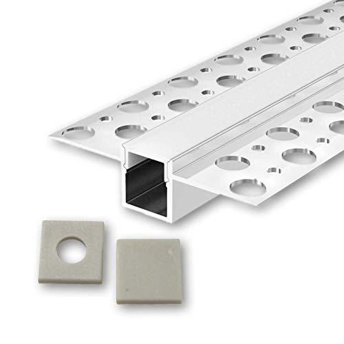 FEDA U-Profil Aluminium LED eloxiert | L - 2m x B - 1,30cm x H - 1,40cm | Alu Kanal für LED Streifen + Acryl Abdeckung milchig-weiß + 2x Endkappen | Aluprofil für Stripes bis 10,5mm Breite