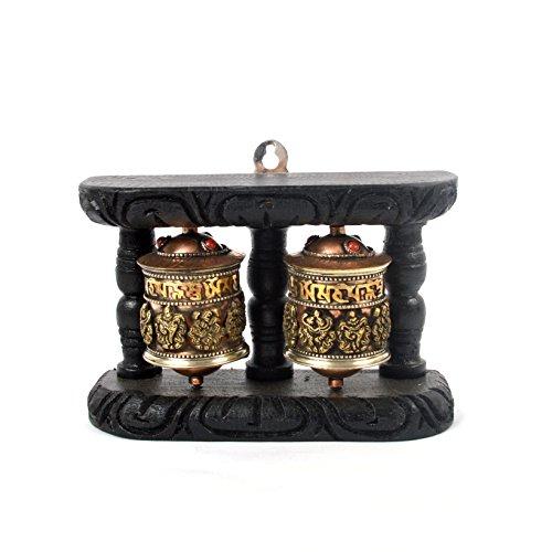 Bermoni Tibetische 8 verheißungsvolle Symbole Double Spinning Wheel mit Holzständer(KTS-MANE-1107-SYM8) - Tibetische Gebetsmühle
