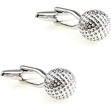 CIFIDET Gemelos de Plata con diseño de Bola de Golf, para Hombre, con Caja