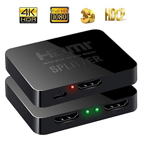 HDMI Splitter 4K HDMI Verteiler 1 in 2 Out Unterstützt HDCP, 4K, 3D, UHD, 1080P, HDMI Splitter 1 auf 2 für Xbox, PS4, PS3, Roku, Blu-Ray-Player, Firestick, HDTV