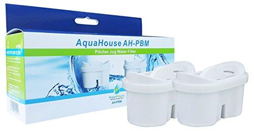 2x aquahouse ah-pbm filtro per l'acqua cartucce compatibili con brita maxtra caraffe filtranti, bi-flux & tassimo
