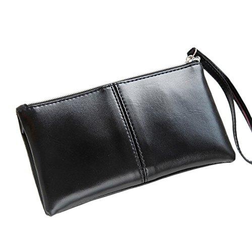 Frauen Leder lange Bifold Wallet Geldbörse Reißverschluss Clutch Handtasche Geldbörse Karte Tasche Tefamore (Lange Bi-fold Wallet)