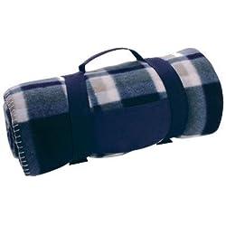 Manta de Viaje de Lana Tartán Escocés - Tapete de Acampar Picnic Coche Mascota Hogar - Azul & Beige, Doble, Poliéster