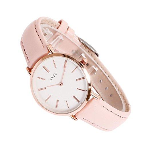 Qmber armbanduhren für Frauen,Glas Leder Lederband Damenuhr Herrenuhr Quarz Liebe Paar Uhr Rosa Blau Elegante Uhr (Rosa)