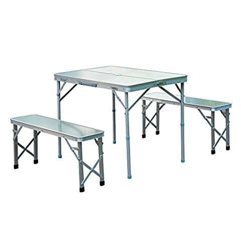 Outsunny 3pc Folding Picnic Table Bench Set Foldable Portable Outdoor Stools Garden BBQ Patio Party Camping Aluminum