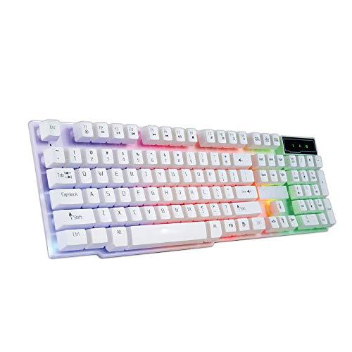 Dell-tastatur-tasten (Bunte Knack-LED-beleuchtete Hintergrundbeleuchtung, USB verkabelte PC Rainbow Gaming-Tastatur, 104 Tasten LED RGB Hintergrundbeleuchtung, Computertastatur, für Windows PC Spiele - Weiß [RGB])