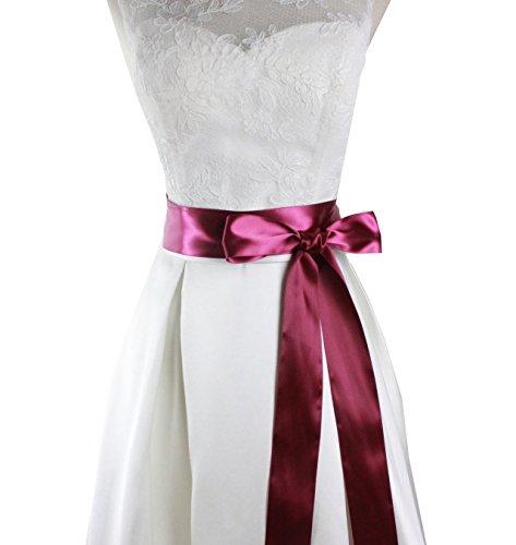 Lemandy handgefertigte, schlichte Taillenschleife aus Satin für Brautkleid, für Hochzeit im Wald, am Strand, Vintage-Hochzeit, in 29Farben B1 Gr. One size, violet-red