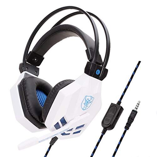 Gaming Headset 3,5 mm Kopfhörer mit Mikrofon für PS4 / XBOX ONE/IPHONE/IPAD(Weiß)